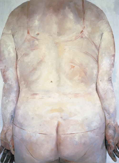 Trace 1993-94 Oil on Jenny Saville canvas 213.5 x 165 cm   84 x 65""